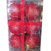 Набор новогодних ёлочных игрушек - 6 шт (O 8 см) красный, фото 1