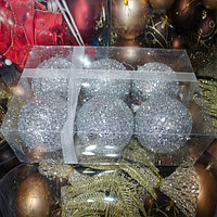 Набор новогодних ёлочных игрушек - 6 шт (O 9,5 см) серебро