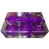 Набор новогодних ёлочных игрушек - 6 шт (O 9,5 см) фиолеторый
