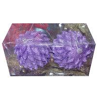 """Набор новогодних ёлочных игрушек """"Шишки"""" - 2 шт (O 10 см) фиолетовый"""
