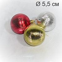 """Набор новогодних ёлочных игрушек """"Шары"""" - 3 шт (5,5 см), фото 1"""