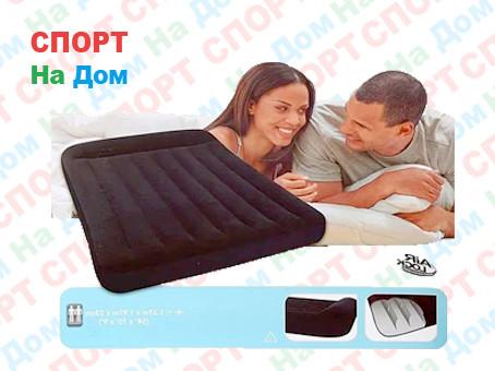 Черный надувной матрас Intex 66768 с подголовником