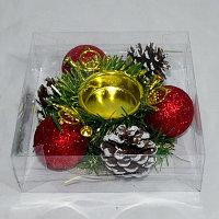 Подсвечник новогодний с шарами и шишками, фото 1