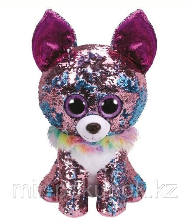 Мягкая игрушка Собака с пайетками 28 см