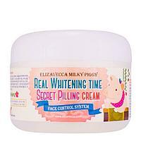 Elizavecca Real Whitening Time Secret Pilling Cream Осветляющий крем для лица с эффектом пилинга кожи 100гр.