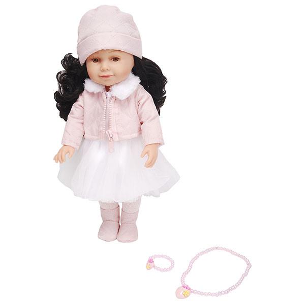 Lilipups Кукла Брюнетка в розовом пальто с меховым воротником, 40 см с аксессуарами