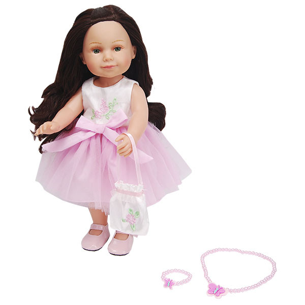 Lilipups Кукла Брюнетка в розовом платье с тюлевой пышной юбкой, 40 см с аксессуарами