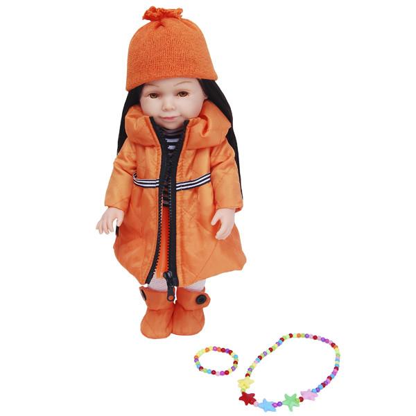 Lilipups Кукла Брюнетка в длинной оранжевой куртке, 40 см с аксессуарами