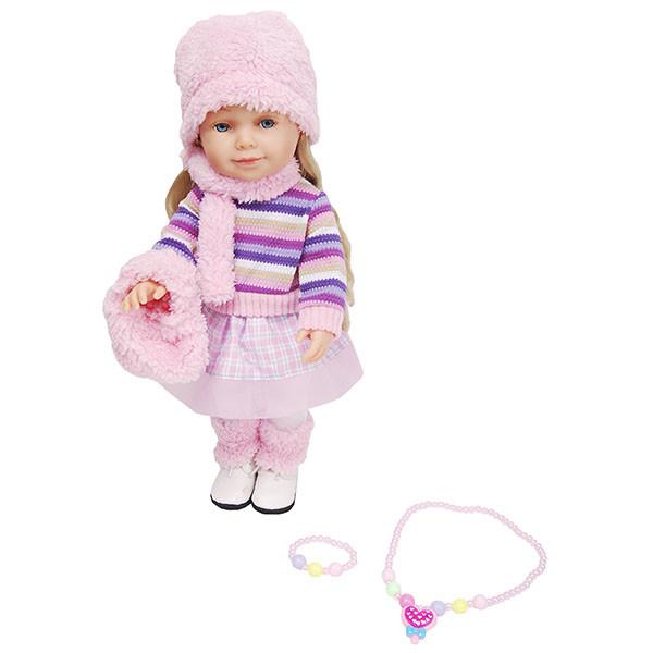 Lilipups Кукла Блондинка в вязанном полосатом свитере, 40 см с аксессуарами, озвученная - 20 фраз