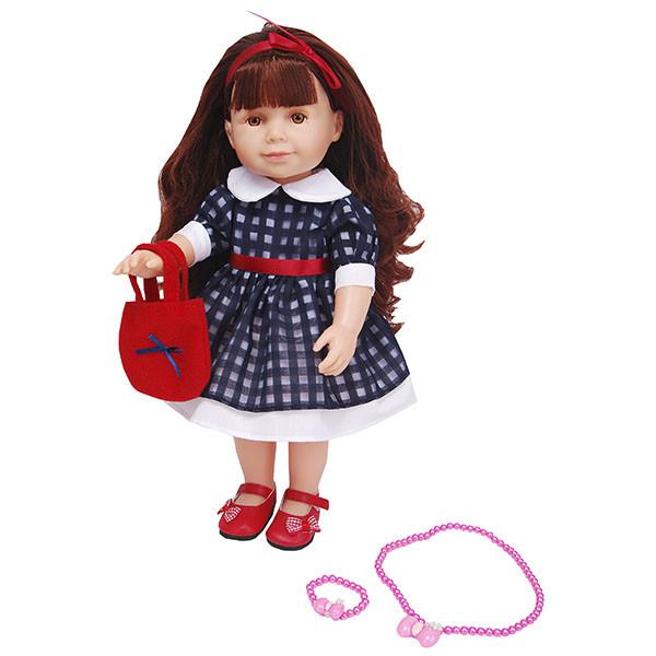 Lilipups Кукла Шатенка в синем платье с манжетами, 40 см с аксессуарами, озвученная - 20 фраз