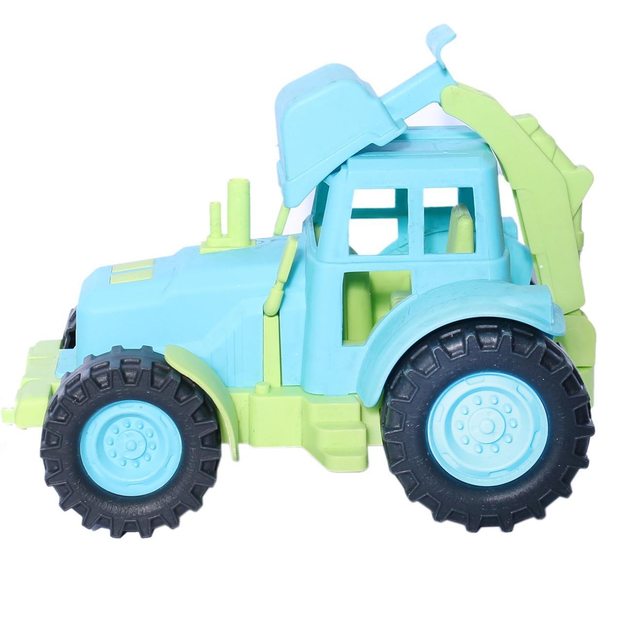 Казик Игрушечный Трактор с задним ковшом, 20см. (зелено-голубой)