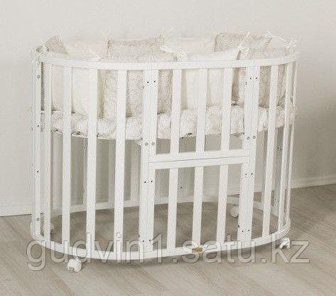 Кроватка-трансформер 7в1 Uomo Da Vinci овальная Белая 00-77135