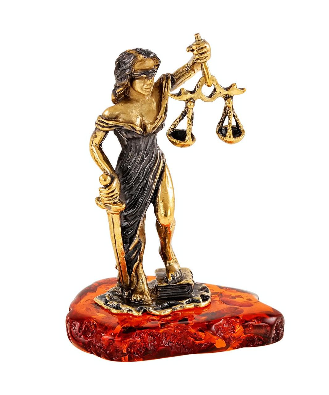 Статуэтка Фемида - Богиня правосудия, янтарь, ручная работа