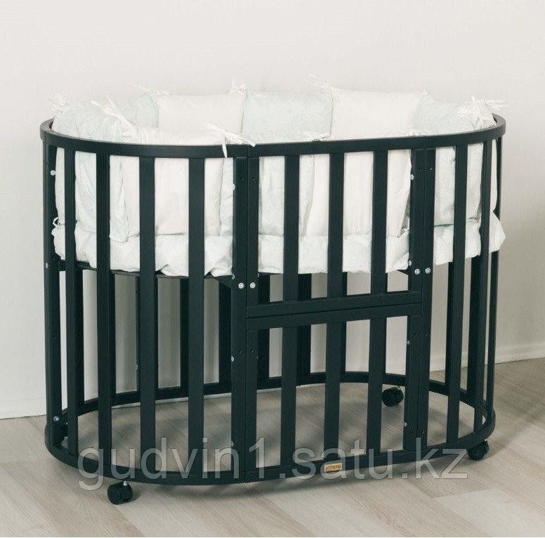 Кроватка-трансформер 7в1 Uomo Da Vinci овальная Венге 00-98822