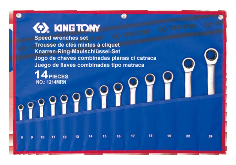 Набор комбинированных трещоточных ключей KING TONY 12114MRN (14 предметов)