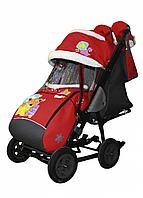 Санки-коляска Galaxy city 1-1 красный мишка со звездой