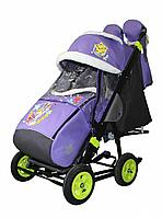 Санки-коляска Galaxy city 1-1 фиолетовый с зайчиком