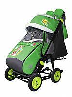 Санки-коляска Galaxy city 1-1 зеленый зайчик