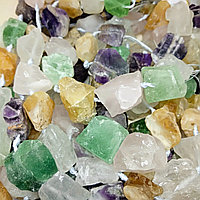 Микс из необработанных камней - аметист, розовый кварц, пренит, цитрин, 20х20х25мм