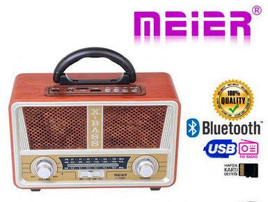 Радиоприемник в стиле ретро MEIER M-112BT с пультом {Bluetooth, FM, USB, TF card, AUX} (Светло-коричневый)