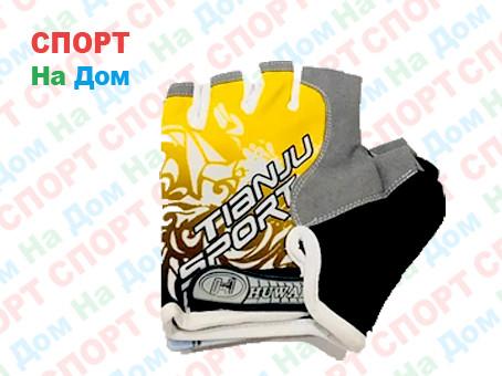 Перчатки для фитнеса, атлетические Tianju Sport Размер M (цвет желтый, синие вставки)