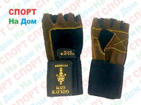 Перчатки для фитнеса, атлетические Gold's Gym замша Размер M (цвет коричневый), фото 2