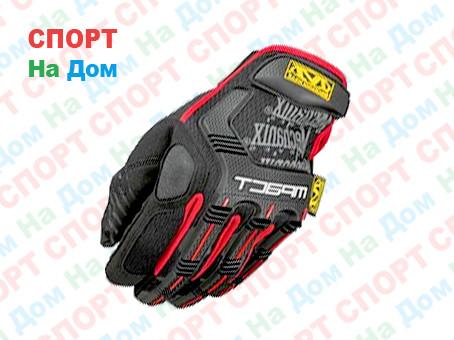 Перчатки тактические M-Pact Glove с пальцами (цвет красный, черный) - фото 1