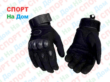 Перчатки тактические с пальцами (цвет черный) - фото 1