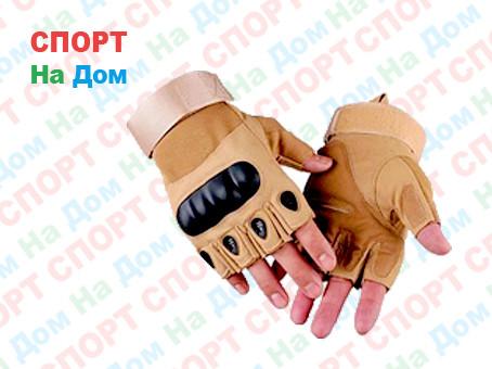 Перчатки тактические без пальцев (цвет коричневый) - фото 1
