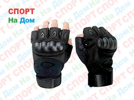 Перчатки тактические без пальцев (цвет черный) - фото 1