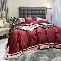 Комплект постельного белья двуспальный Lux сатин однотонное с окантовкой