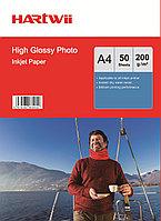Фотобумага A4 для прин. 200 гр.Hartwii 50л глян.одн.