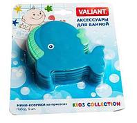 Набор мини-ковриков для ванной комнаты Valiant [6 шт.] (Кит), фото 1