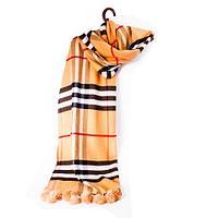 """Шарф-палантин с меховыми помпонами и узором от """"Burberry"""" [шерсть, кашемир] (Светло-коричневый), фото 1"""