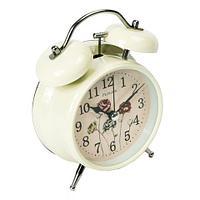 Часы-будильник с подсветкой в винтажном стиле «Double Bell» (Кремовый)
