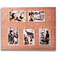 Фотоколлаж с прищепками «Семейная реликвия» [5, 7, 8 фото] (30x60 см / Мешковина)