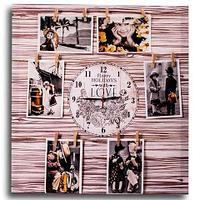 Фотоколлаж с часами «Счастливые каникулы» [6, 7 фото] (50x50 см / Белое дерево), фото 1