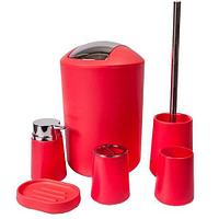 Набор аксессуаров для ванной комнаты и туалета Bathloox [6 предметов] (Розовый)