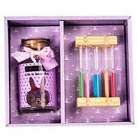 Подарочный набор «Загадай желание» [баночка пожеланий + песочные часы] (Розовый), фото 1