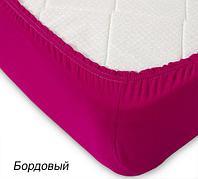 Простынь на резинке из трикотажной ткани от Текс-Дизайн (90х200 см / Бордовый)