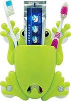 Держатель для зубных щёток и пасты «Весёлые зверушки» (Салатовый / Птичка)