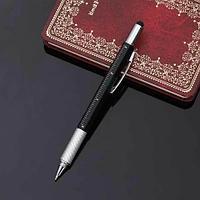 Мультитул-ручка 6 в 1 TOMTOSH [шариковая ручка-2 отвертки-стилус-уровень-линейка] (Черный)
