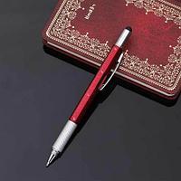 Мультитул-ручка 6 в 1 TOMTOSH [шариковая ручка-2 отвертки-стилус-уровень-линейка] (Бордовый)