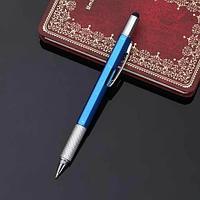 Мультитул-ручка 6 в 1 TOMTOSH [шариковая ручка-2 отвертки-стилус-уровень-линейка] (Синий)