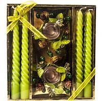 Набор новогодний сувенирный со свечками «Изящное торжество» (Зеленый), фото 1