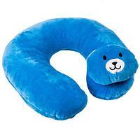 Подушка-подголовник дорожная для детей KANGSHENG (Синий медвежонок)