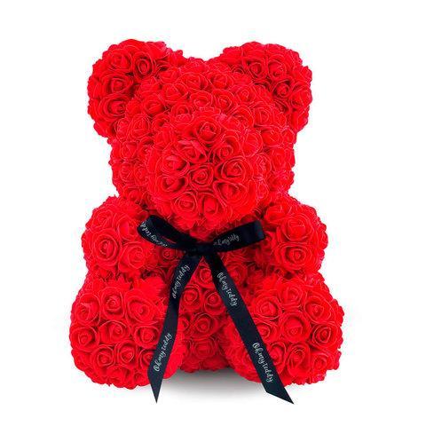 Мишка декоративный из роз с ленточкой в подарочной коробке [38 см] (Красный) - фото 2