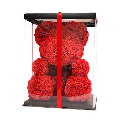Мишка декоративный из роз с ленточкой в подарочной коробке [38 см] (Красный) - фото 3