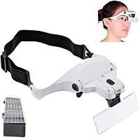 Бинокулярные очки-лупа 1.5-3.5X с  LED подсветкой Eyeglasses bracket [5 линз], фото 1