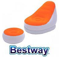 Кресло надувное c пуфиком для ног Bestway 75053 (Оранжевый)